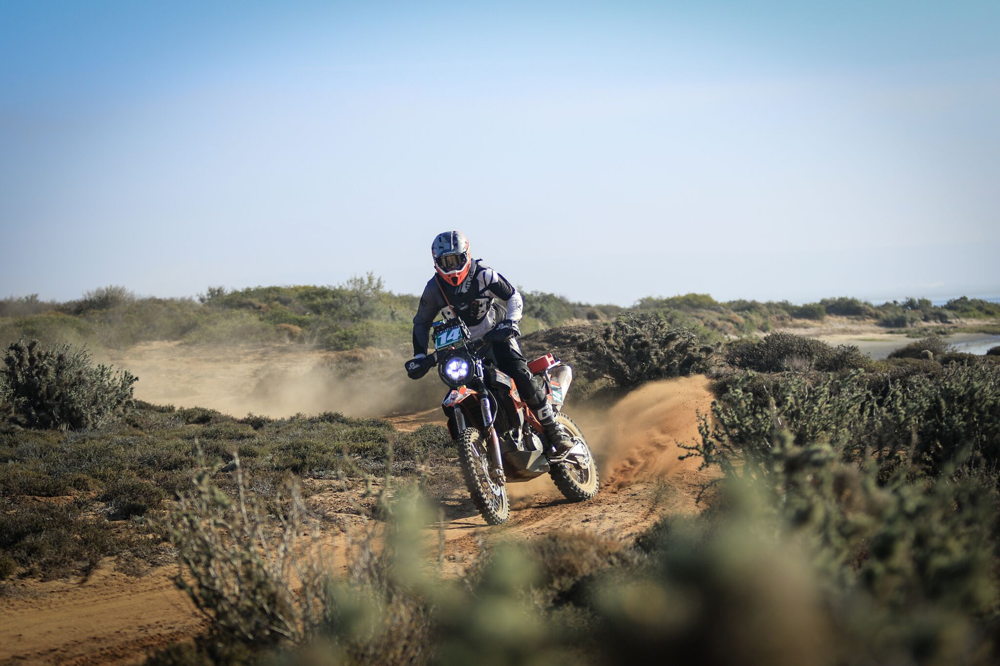BAJA RALLY – SPECIAL STAGE 4 – Riders battle all the way to the finish line.